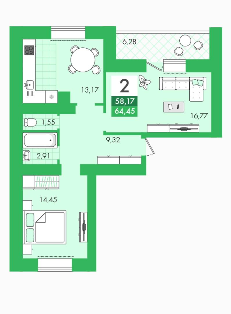 Продам 2-комнатную квартиру в городе Саратов, на улице Булгакова,  8, 5-этаж 10-этажного кирпичный дома, площадь: 64.45/31/13 м2