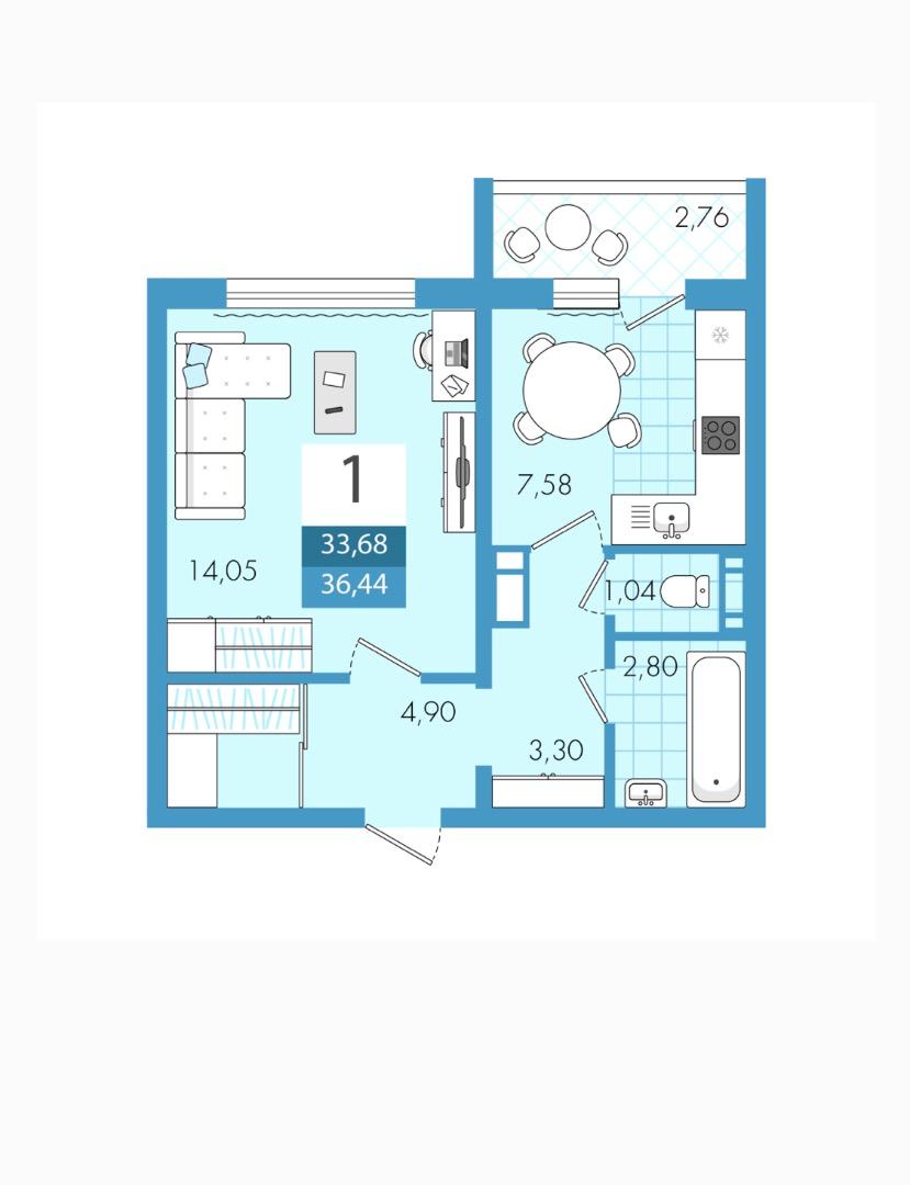 Продам 1-комнатную квартиру в городе Саратов, на улице Им Еремина Б.Н.,  18, 2-этаж 10-этажного панельный дома, площадь: 36.44/14/7.6 м2
