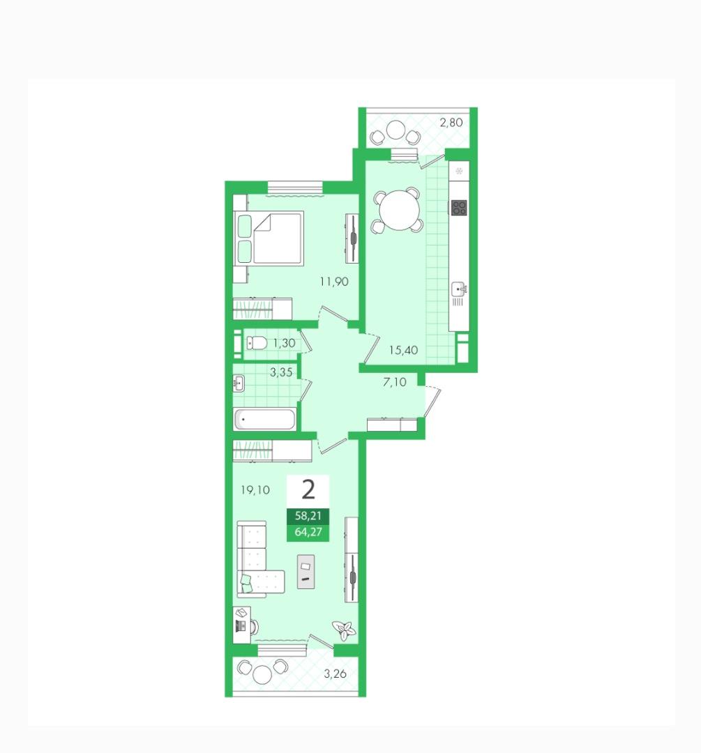 Продам 1-комнатную квартиру в городе Саратов, на улице Им Еремина Б.Н.,  18, 6-этаж 10-этажного панельный дома, площадь: 64.27/32/15.5 м2