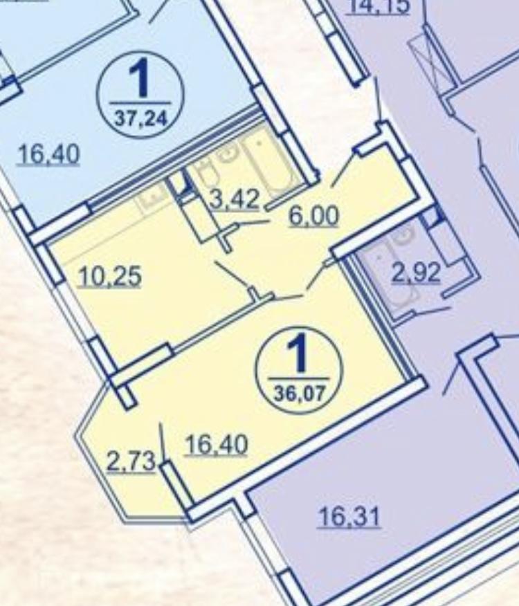 Продам 1-комнатную квартиру в городе Саратов, на улице шоссе Усть-Курдюмское,  1, 23-этаж 25-этажного монолит дома, площадь: 36.07/16/10.3 м2