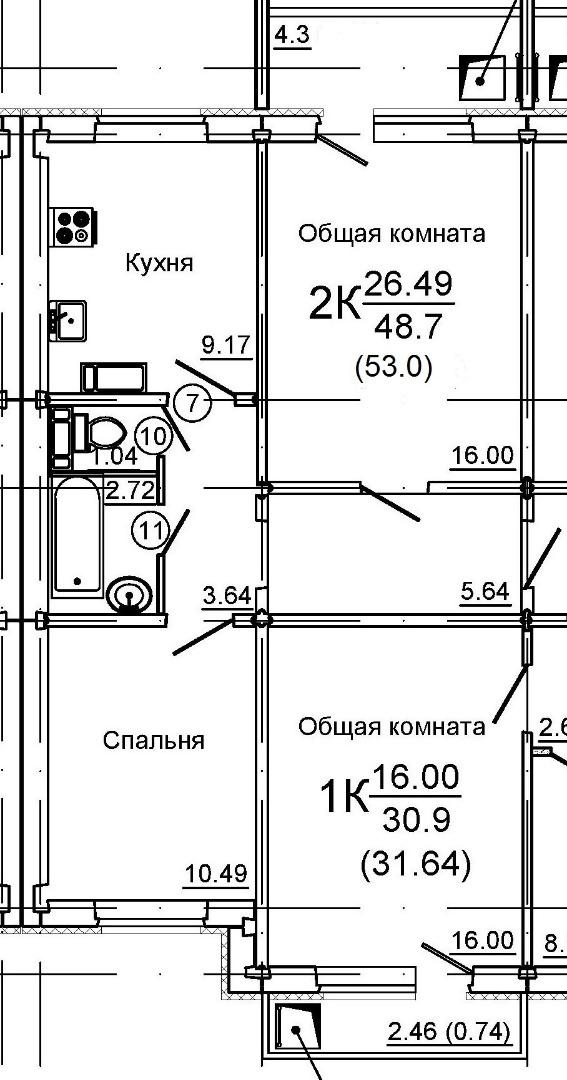 Продам 2-комнатную квартиру в городе Саратов, на улице Романтиков,  48а, 4-этаж 10-этажного панельный дома, площадь: 53/26.5/9.19 м2